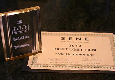 Trophy & Certificate - Best LGBT Film - The Commitment - SENE Film, Music & Arts Festival